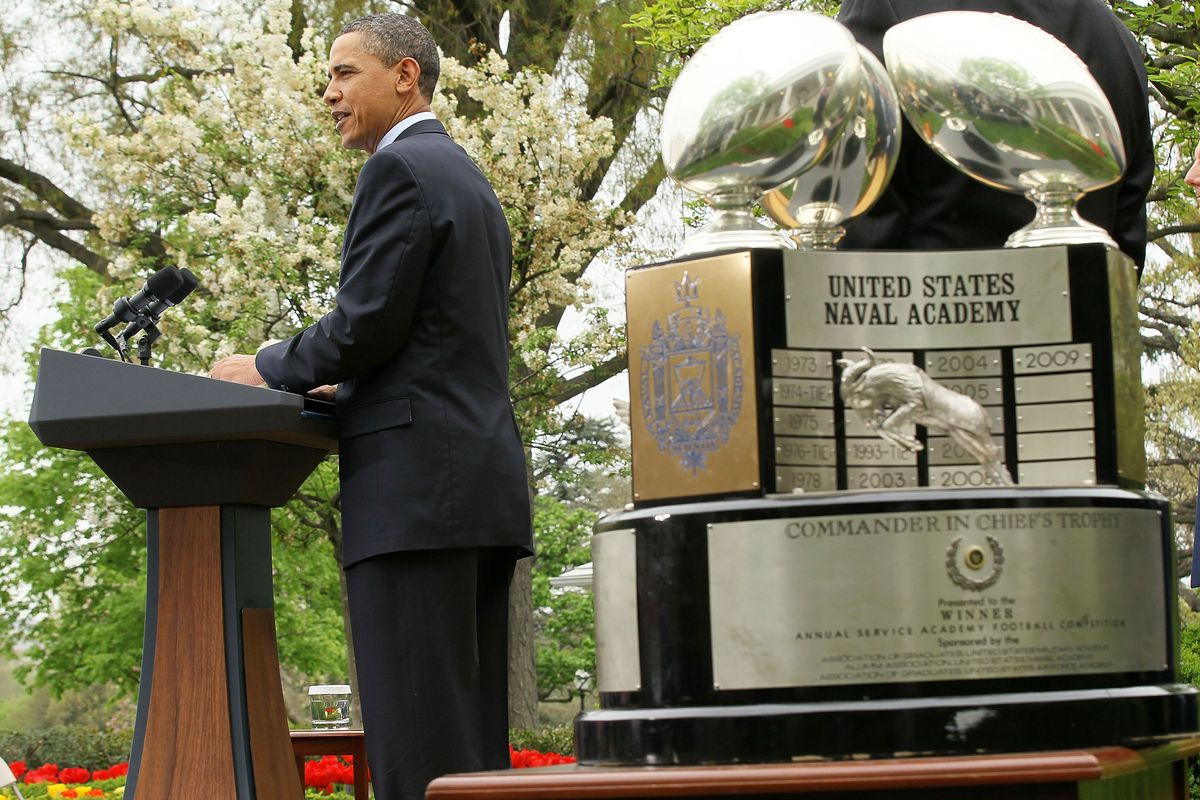 Obama Awards Commander-In-Chief Trophy To Air Force Academy Football Team