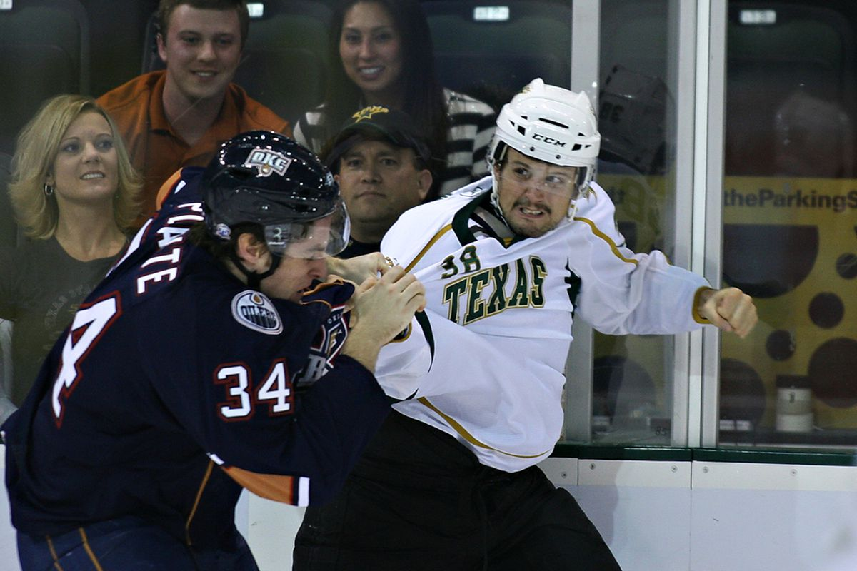 Francis Wathier, the Texas Stars' representative at the AHL All-Star game, shows off some of his more puglistic tendencies in a file photo. (Credit: Texas Stars/Byrd)