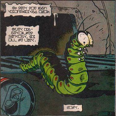 A caterpillar character in a comic book.