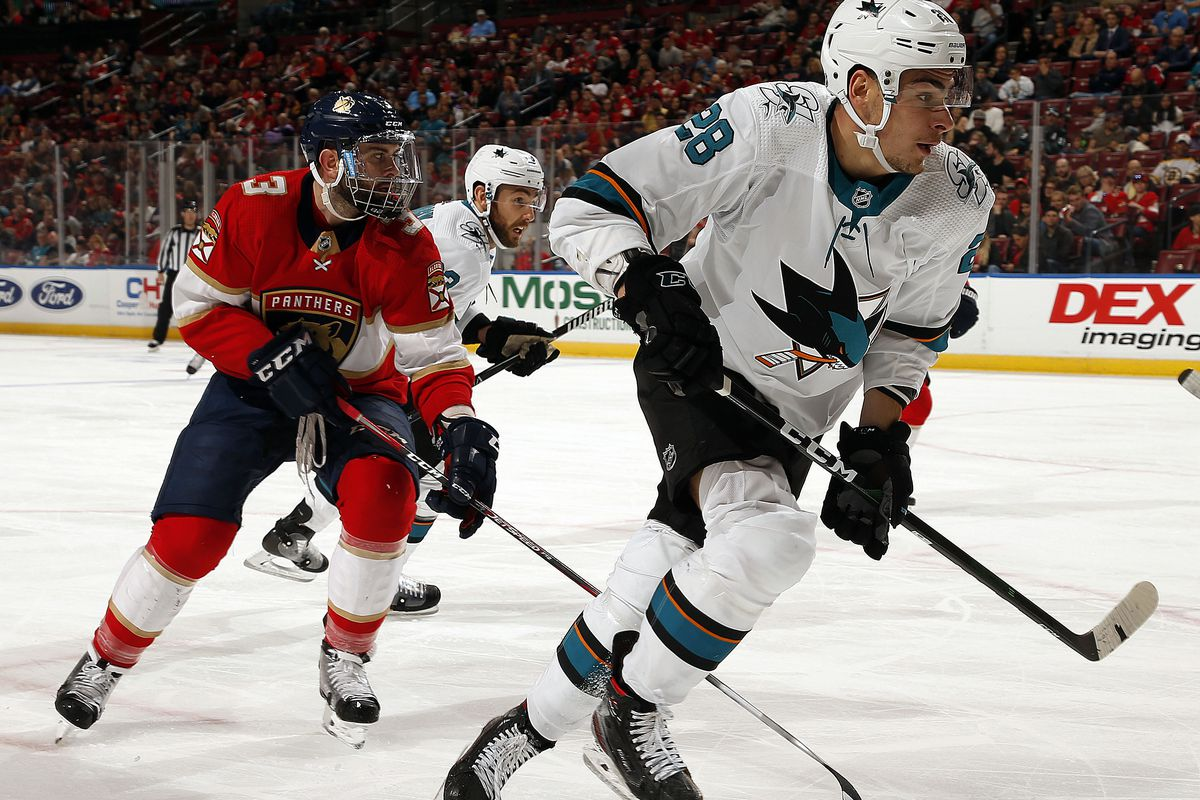 SUNRISE, FL - DECEMBER 8: Timo Meier #28 of the San Jose Sharks skates for position against the Florida Panthers at the BB&T Center on December 8, 2019 in Sunrise, Florida.
