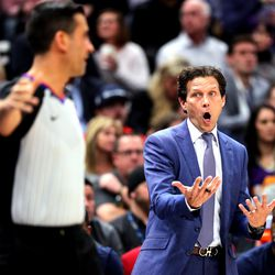 Utah Jazz head coach Quin Snyder argues with referee Zach Zarba as the Utah Jazz and the Denver Nuggets play an NBA basketball game at Vivint Arena in Salt Lake City on Wednesday, Feb. 5, 2020. Denver won 98-95, giving the Jazz their fifth straight loss.