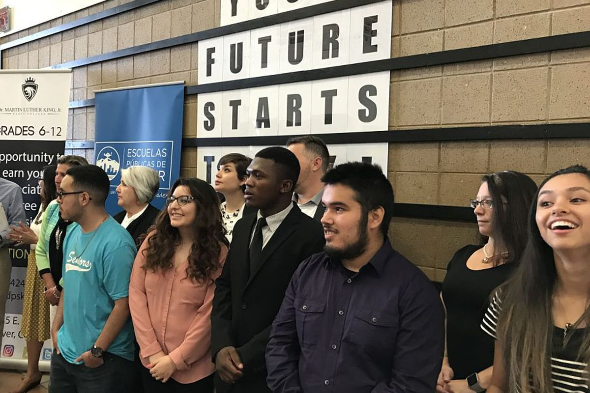 Denver students at a press conference to announce the designation of five more early college high schools.
