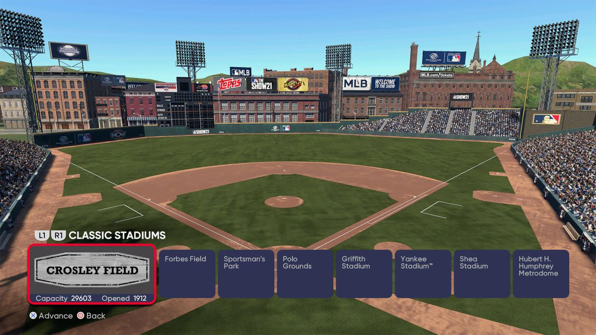 selection screen showing Crosley Field, which was home of the Cincinnati Reds from 1912 to 1970.