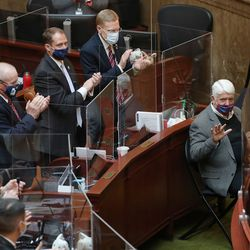 Former Congressman Rob Bishop is applauded as the Utah Legislature opens the 2021 general session at the Capitol in Salt Lake City on Tuesday, Jan. 19, 2021.