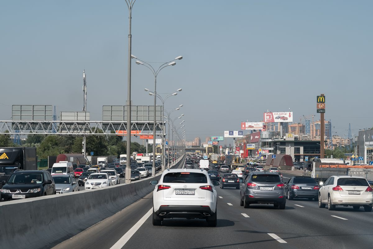 Daily traffic on the Moscow Ring Road (MKAD) in Moscow, Russia, on August 19, 2017. Heavy traffic, frequent road construction, and air pollution from heavy trucks and old, inefficient cars is a daily reality for many commuters.