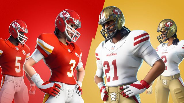 Fortnite characters in Kansas City Chiefs and San Francisco 49ers uniforms face off