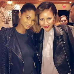 "LA blogstar Taye Hansberry and VS model Chanel Iman. Image via @tayehansberry/<a href=""http://instagram.com/p/kTbu7lLHN-/"">Instagram</a>"