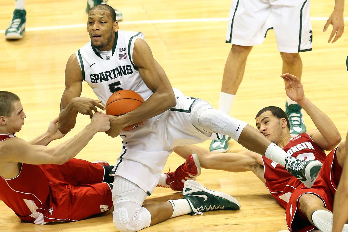 In the play of the game, Adreian Payne outhustled Wisconsin while sitting on his butt.