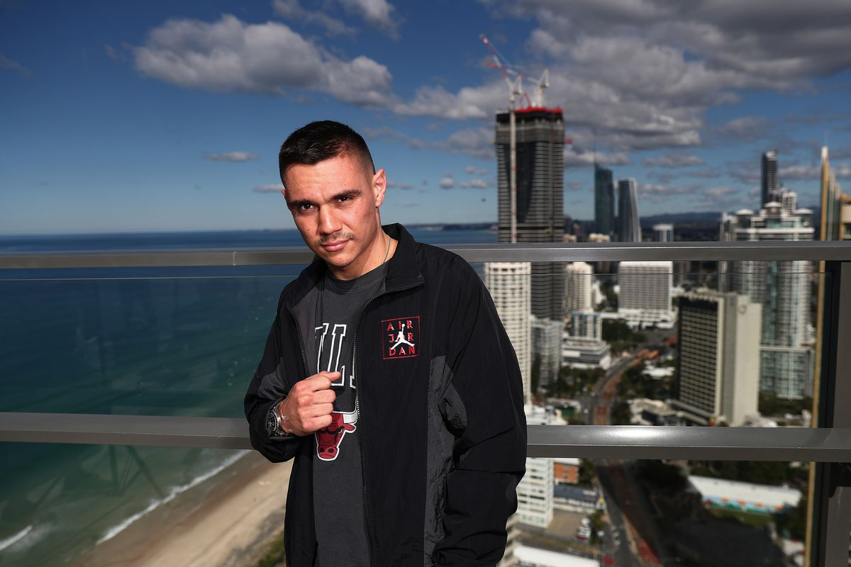Boxer Tim Tszyu poses during a media opportunity at Rhapsody Resort on June 04, 2021 in Gold Coast, Australia.