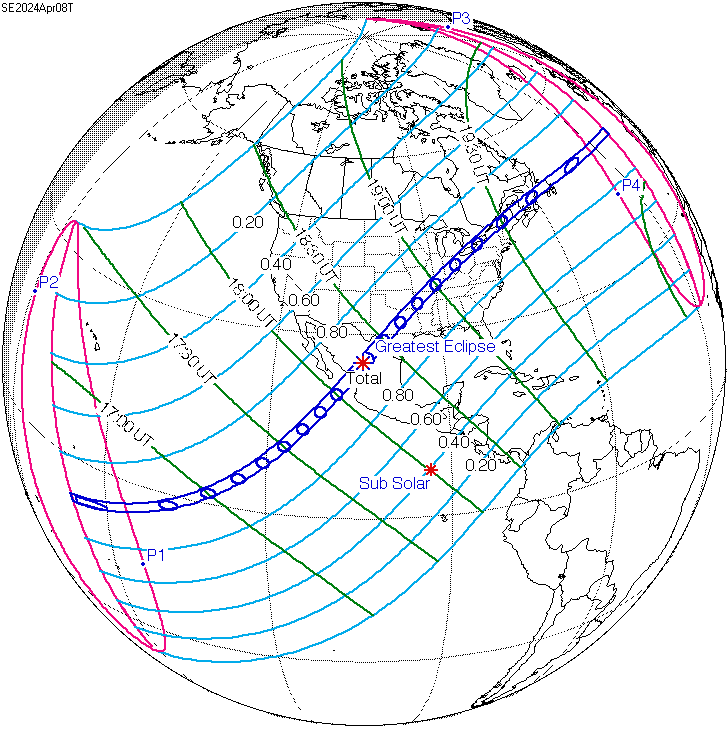 Map of eclipse path