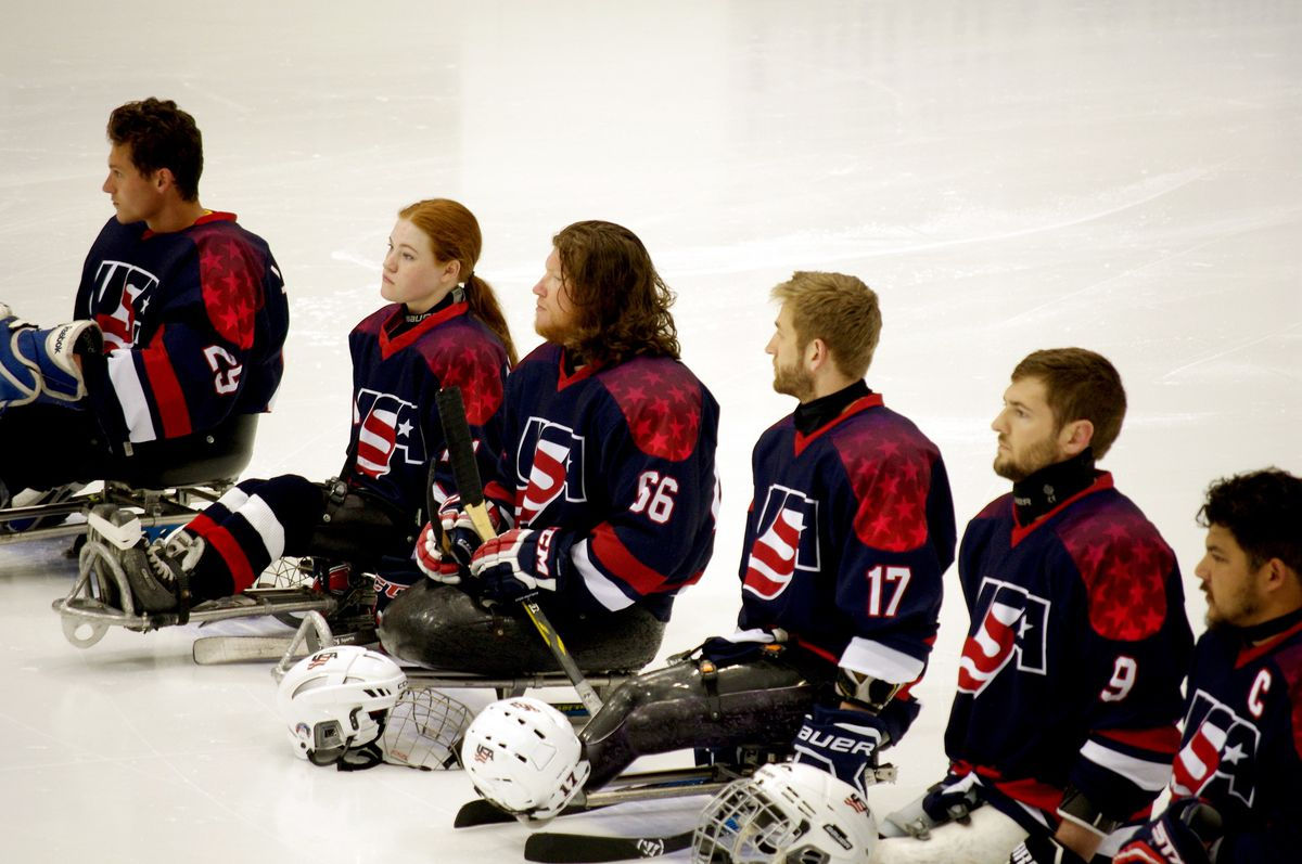 The starting line-up for the U.S. National Development Team in Game 2 of the Canada-USA sledge hockey series at the 2017 Défi sportif AlterGo.