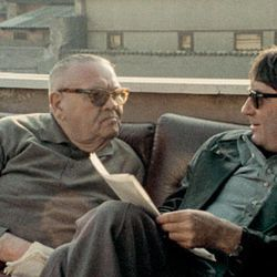 """Holocaust survivor Benjamin Murmelstein, left, is interviewed by French filmmaker Claude Lanzmann in 1975 for what has become a new documentary, """"The Last of the Unjust,"""" now on Blu-ray and DVD."""