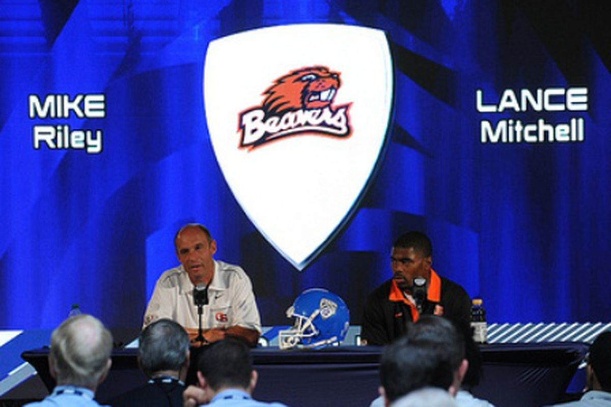 Coach Mike Riley and Lance Mitchell represented Oregon St. at Pac-12 Media Day.
