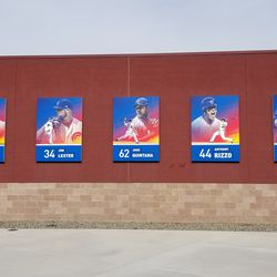 Player photos on the outer wall of Sloan Park