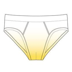 Ombre Underwear. Stretch cotton briefs in white and yellow. Wide elasticized waistband. White overlook stitching throughout. Also comes in white and red.