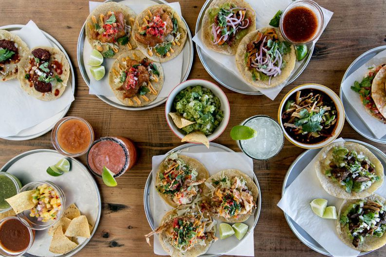 Top-down view of tacos and more at Pablo y Pablo.