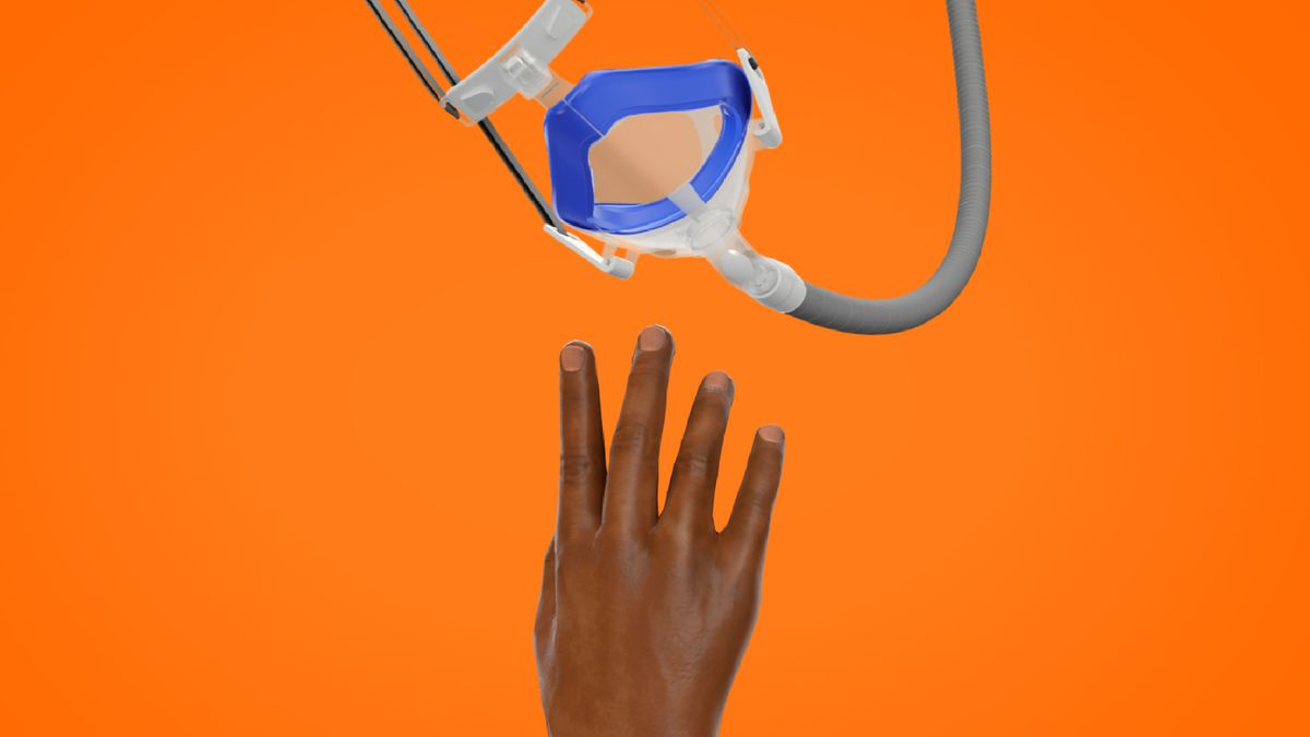 Illustration of hand reaching to grab a CPAP mask that is dangling out of reach.