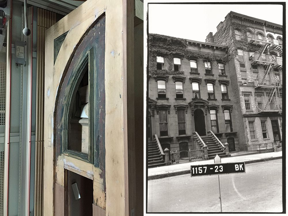 The front door, stripped (left). The archival photo of the brownstone and its neighboring buildings, from a 1940s tax assessment (right).