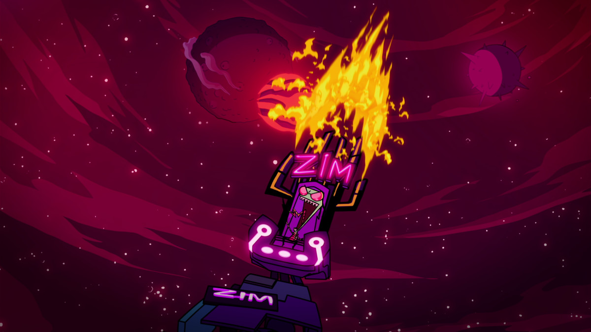 in Invader Zim: Enter the Florpus, Zim is maniacally cackling as he sits in a throne with his name on it. The throne is flaming. He looks like a winner.