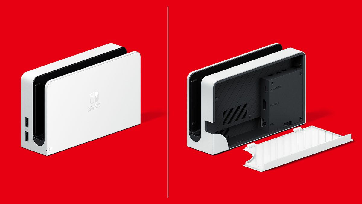 The new Nintendo Switch (OLED model) dock in white, one showing the dock closed and the other showing it open
