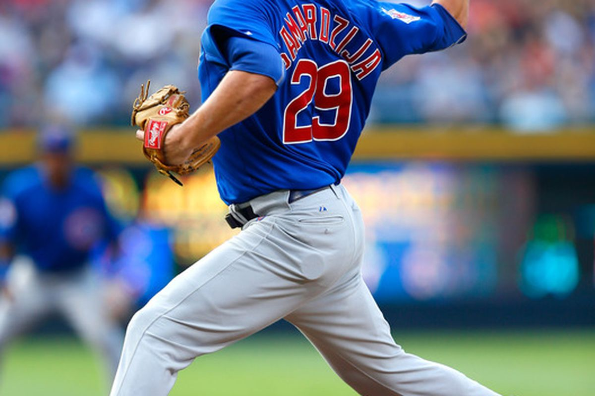 Jeff Samardzija of the Chicago Cubs pitches to the Atlanta Braves at Turner Field in Atlanta, Georgia.  (Photo by Kevin C. Cox/Getty Images)