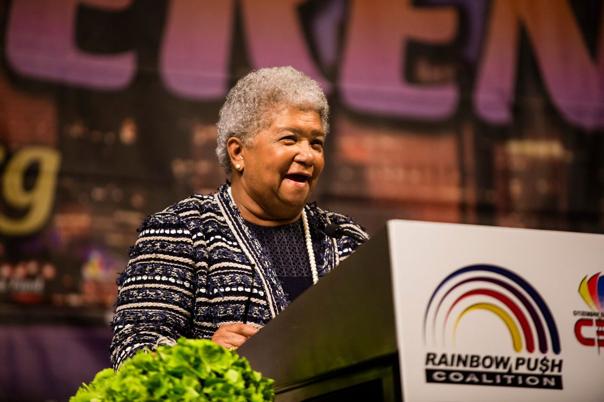 The publisher of The Chicago Crusader, Dorothy Leavell, at the Rainbow Coalition's women's leadership luncheon on Friday, June 15th, 2018. | James Foster/For the Sun-Times