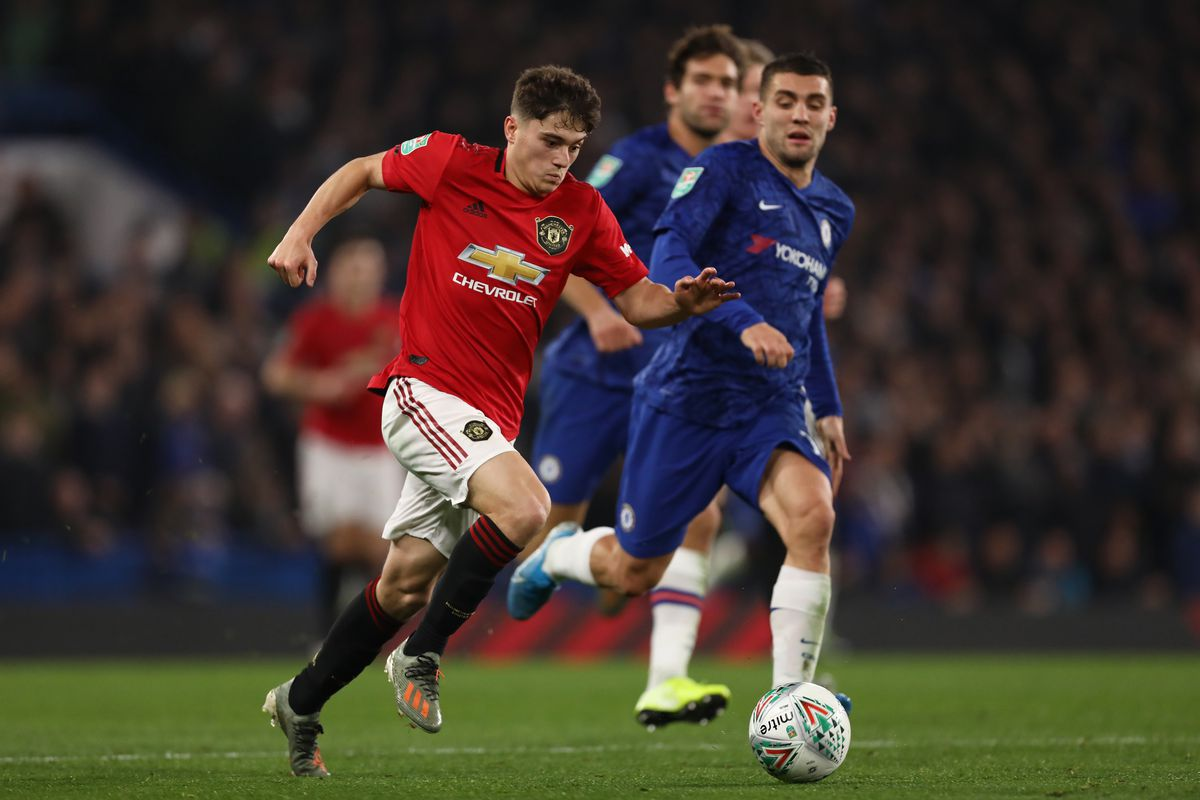 Daniel James of Manchester United and Mateo Kovacic of...