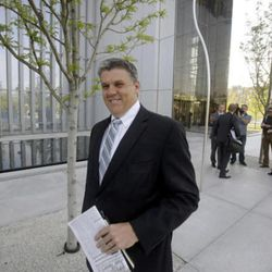 FILE - In this April 22, 2015, file photo, San Juan County commissioner Phil Lyman leaves the federal courthouse, in Salt Lake City. Lyman convicted in an ATV ride protesting federal control of public lands will not get state money to help with legal bills but Utah officials say they'll spend their own money to help.