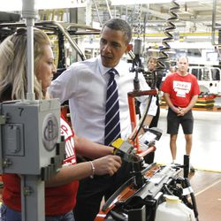 FILE - In this Friday, June 3, 2011 file photo, President Barack Obama tours Chrysler Group?s Toledo Supplier Park in Toledo, Ohio. Will voters in Ohio focus on the revitalized auto industry and unemployment below the U.S. average and regard Obama as the architect of a hopeful but not yet robust economy? Or will they see government as an obstacle, hundreds of thousands of people still out of work and look to Mitt Romney for the answers? (AP Photo/Charles Dharapak, File)