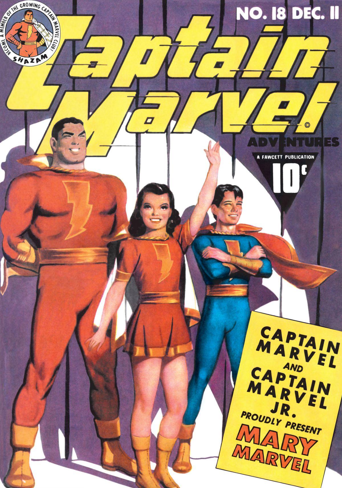 Cover of Captain Marvel Adventures # 18, Fawcett Comics, DC Comics (1942)