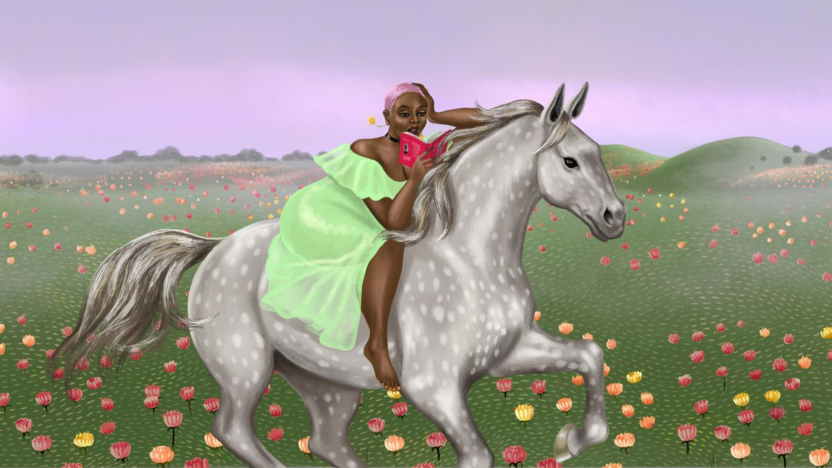 Illustration of a black woman in a flowing dress reading a book while sitting on a horse in a flowery field.
