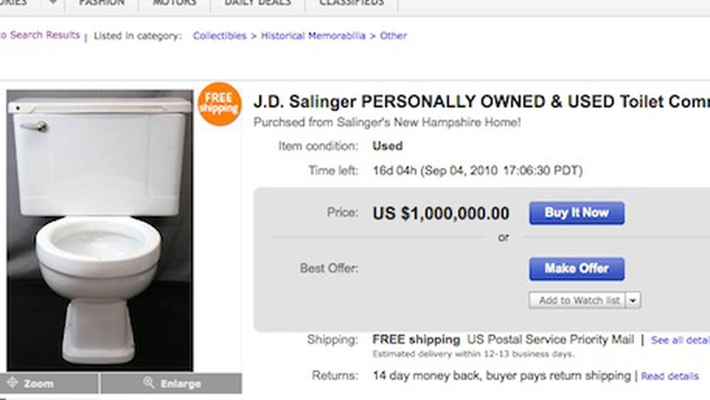 J.D. Salinger\'s Dirty Old Toilet for Sale on eBay for $1 million ...