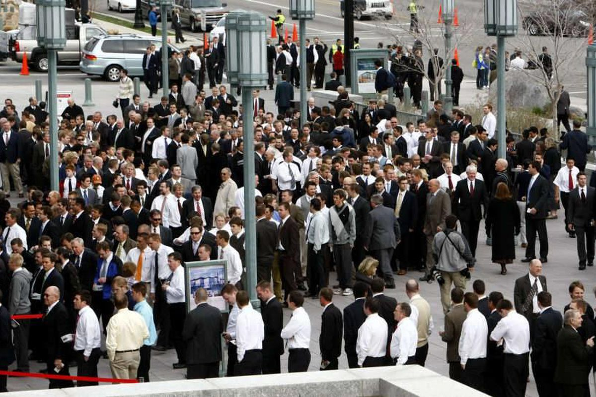 Thousands prepare for the Priesthood session inside the Conference Center in Salt Lake City Saturday, April 3, 2010.