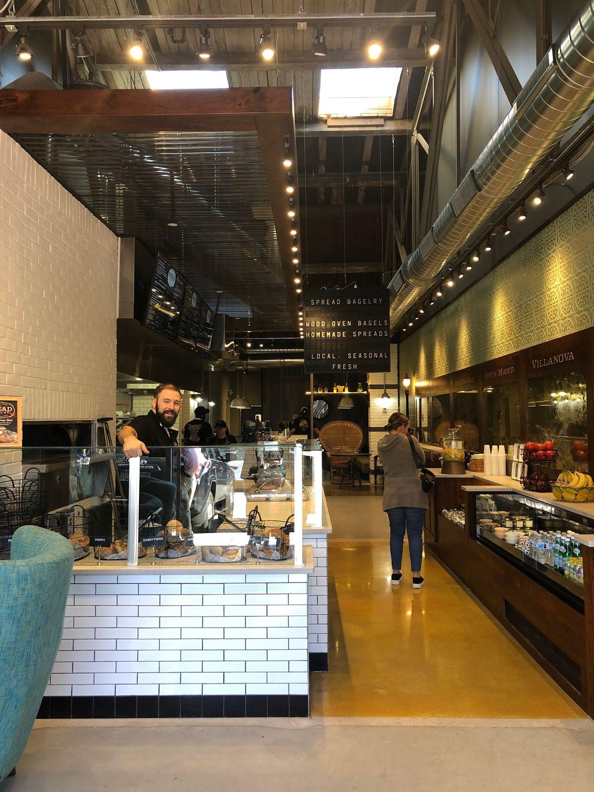 a narrow bagel shop