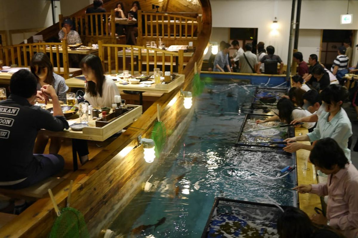 Japanese chain where diners fish for their dinner plans for Asian cuisine nyc