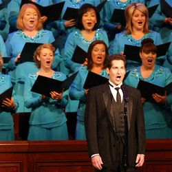 Dallyn Vail Bayles sings with the Mormon Tabernacle Choir at LDS Church President Thomas S. Monson's birthday concert.