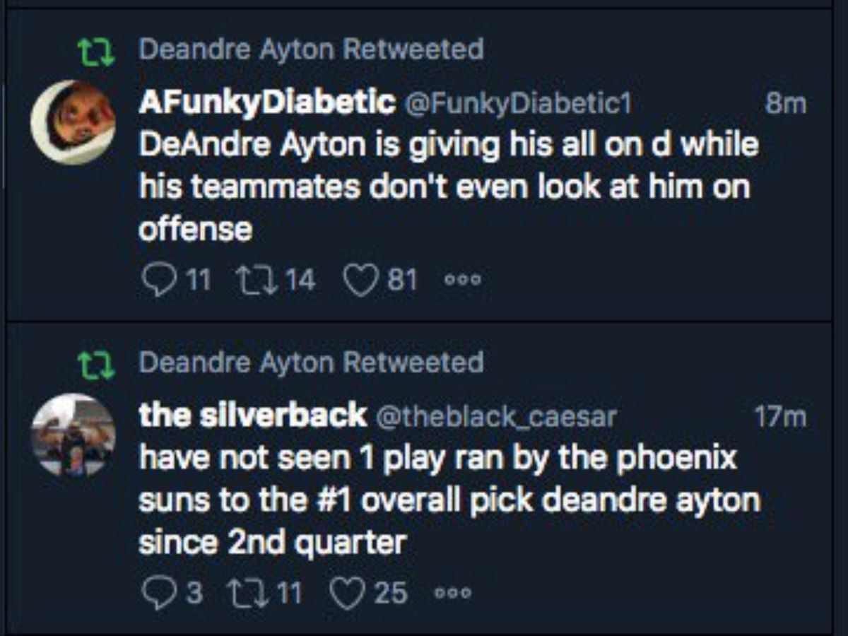 A screenshot showing Deandre Ayton's account retweeting two tweets about his Phoenix Suns teammates not looking for him on offense