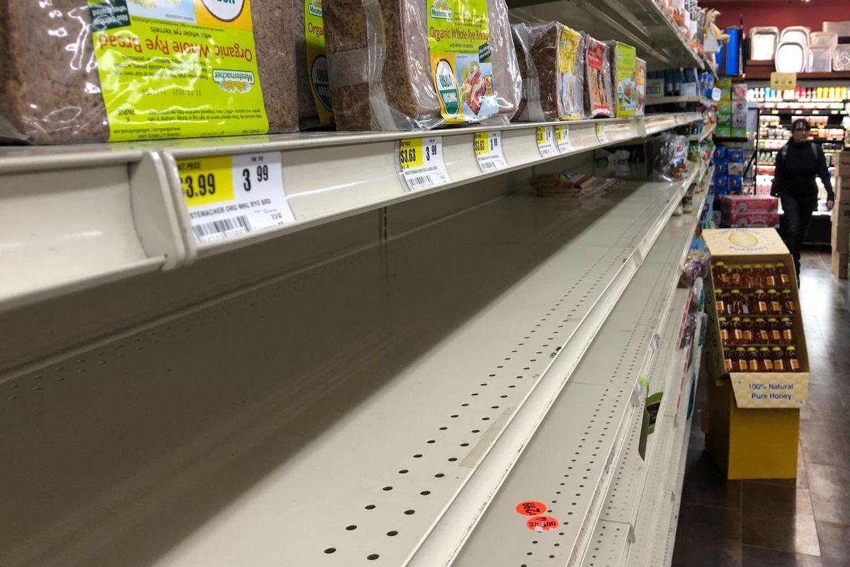 A Bed-Stuy grocery store was running low on some essential items like bread.