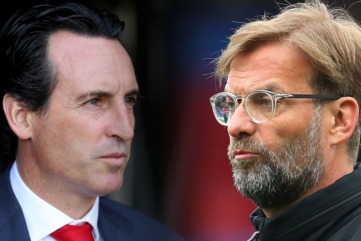 Unai Emery and Jurgen Klopp - Arsenal FC v Liverpool FC - Premier League