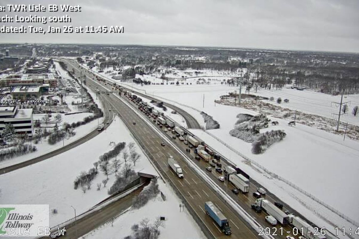 Two people were hospitalized Jan. 26, 2021 following a crash on I-88.