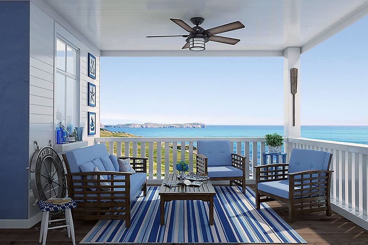 ceiling fan on outdoor porch
