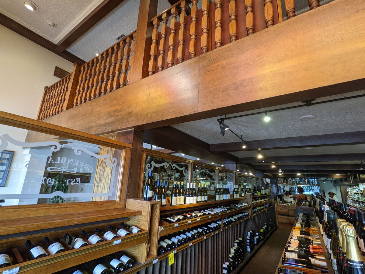 The wine shop and look into the upstairs dining room at Greenblatt's Deli.