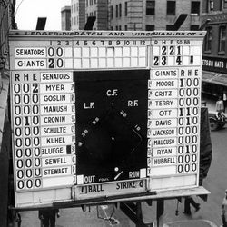 FILE- In this Oct. 3, 1933, file photo, a scoreboard showing Game 1 of baseball's World Series between the Washington Senators and New York Gians is displayed outside a building in Norfolk, Va. In clinching a playoff spot, the Nationals put the nation's capital in baseball's postseason for the first time in nearly 80 years.