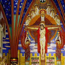Artwork within the cathedral depicts the Crucifixion of Jesus Christ and other sacred scenes.