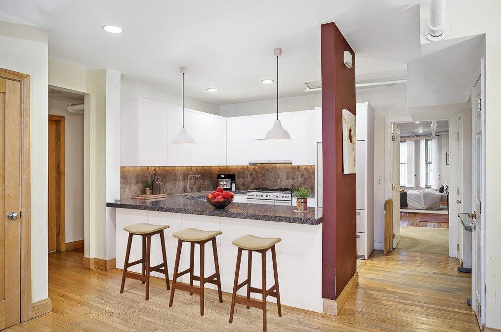 A close-up of those stools and that counter.