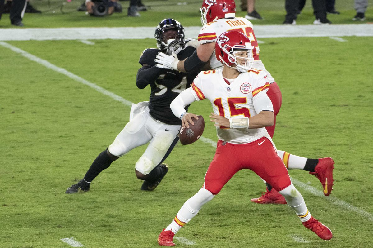 Kansas City Chiefs quarterback Patrick Mahomes drops back to pass during the second half against the Baltimore Ravens at M&T Bank Stadium.