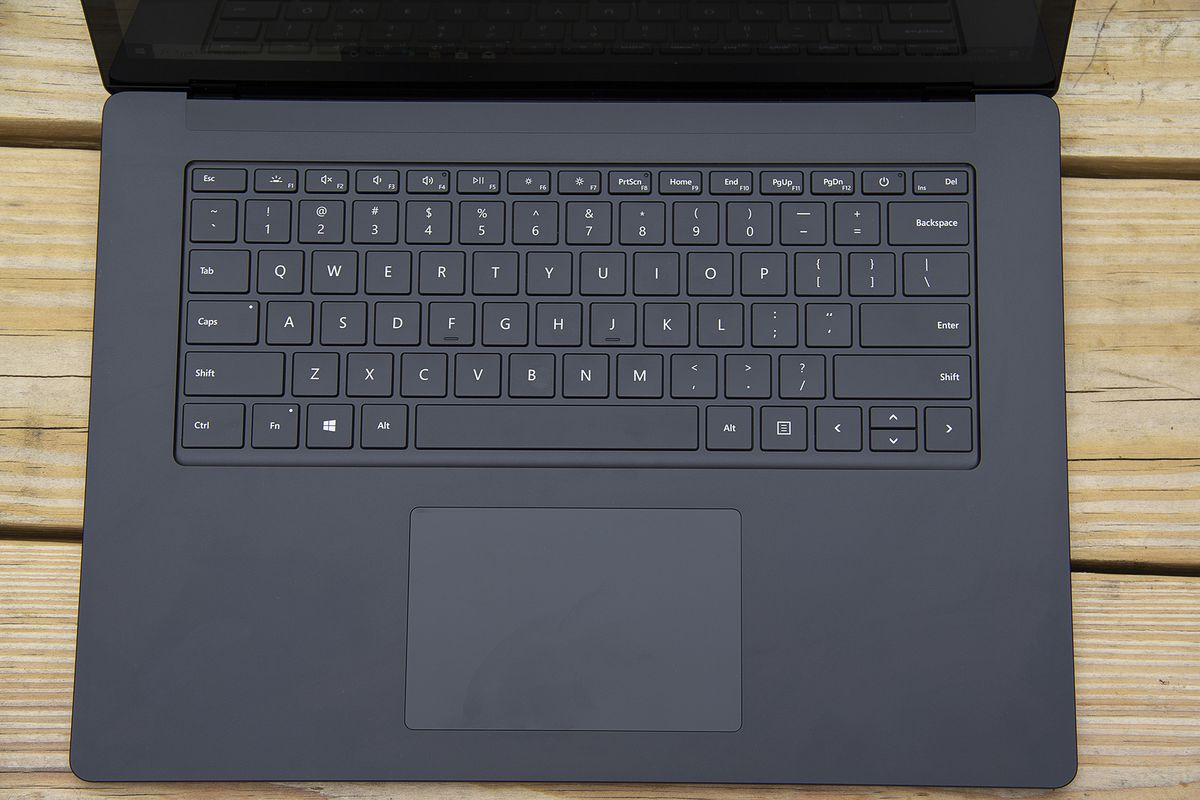 The Surface Laptop 4 15-inch keyboard from above.