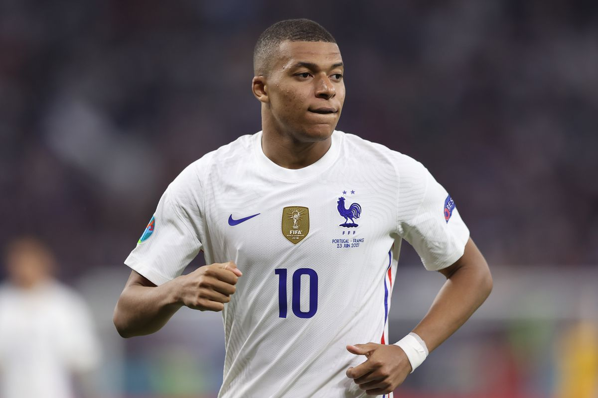 Kylian Mbappe of France looks on during the UEFA Euro 2020 Championship Group F match between Portugal and France at Puskas Arena on June 23, 2021 in Budapest, Hungary.