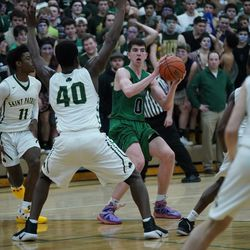 Notre Dame's Troy D'Amico (0) steps behind the three point line to attempt a shot, Friday 02-08-19. Worsom Robinson/For the Sun-Times.