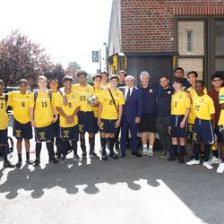 Rocco with Mount Saint Michael Academy students